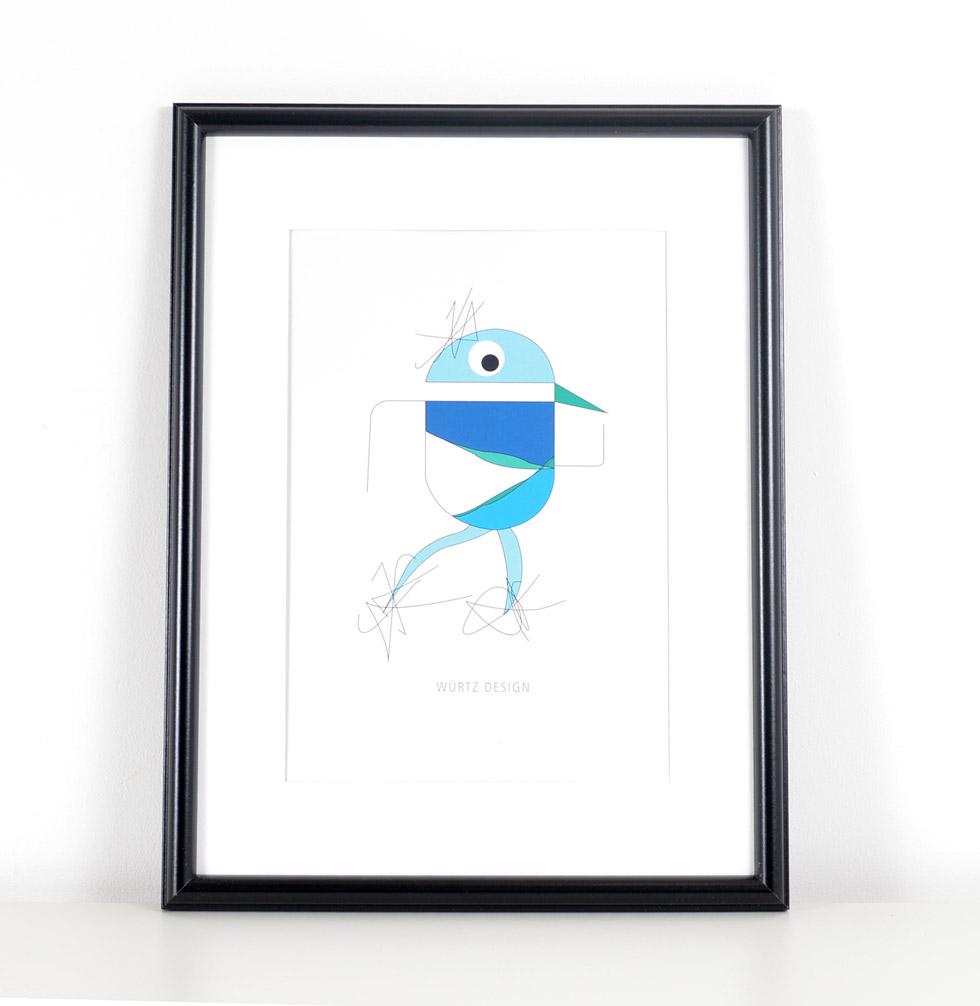 Würtz Design Plakat Blå fugl 1
