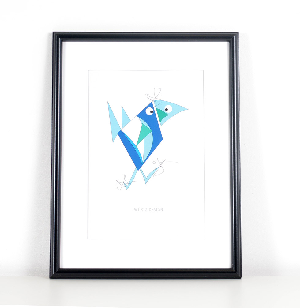 Würtz Design Plakat Blå fugl 2