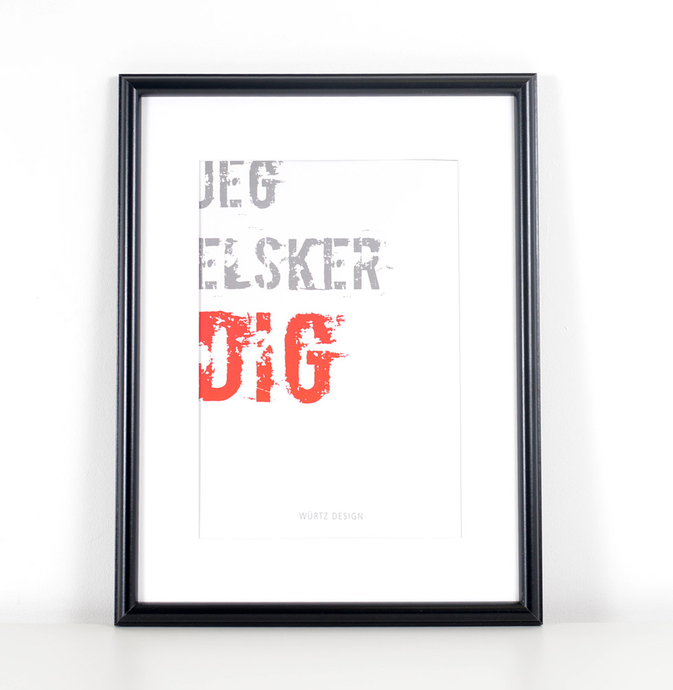 Würtz Design Plakat Jeg elsker dig