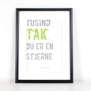 Würtz Design Plakat Tusind tak du er en stjerne
