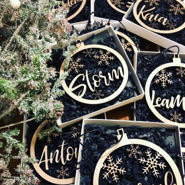 Julekugle med navn